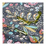Stoff am Stück Stoff Baumwolle Acryl schwarz Blume