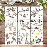 VETPW 9 Piezas Pájaro Plantillas de Pintura Reutilizables, Plantillas de Dibujo DIY con Diseño de Pájaro Rama Hoja Set de Plantillas para Madera, Suelos, Ventana, Muebles, Diseño de Paredes, 20x20CM