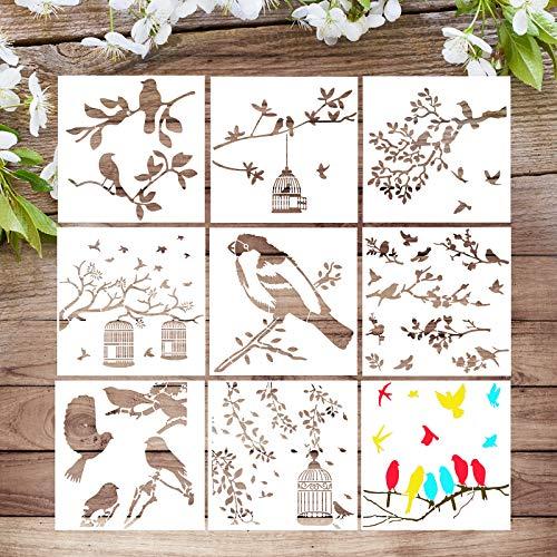 VETPW 9 Stück Vogel Stencil Schablonen Zeichnen, Vögel Blatt Ast Muster Kunststoff Wiederzuverwendend Zeichenschablonen Vorlagen Planer Schablonen für Fußböden, Holz, Fenster, Möbel, Wanddeko, 20x20CM