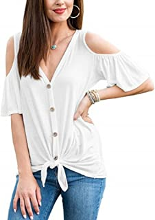 T Shirts for Women Puff Sleeve Chiffon V Neck Casual Tops Blouse