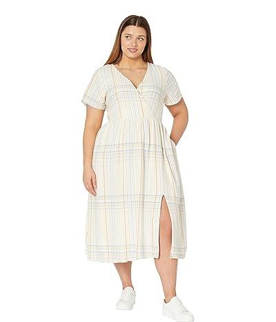 Madewell Plus Linen Blend Clara Midi Dress in Plaid