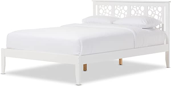 Baxton Studio Chace Modern And Contemporary Geometric Pattern White Solid Wood Platform Bed Full White