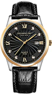 DREAMING Q&P Mens Analog Quartz Watches Gold Plating Case Male Business Wristwatch with Black Soft Leather