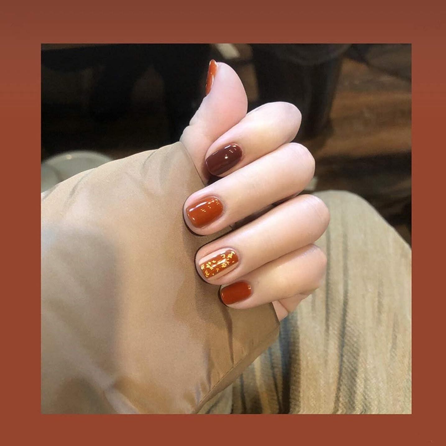 ジャンプリーズ山可愛い優雅ネイル 女性気質 手作りネイルチップ 24枚入 簡単に爪を取り除くことができます フレンチネイルチップ 二次会ネイルチップ 結婚式ネイルチップ (キャラメル色)