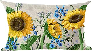 ramirar Hand Painted Ink Oil Painting Watercolor Yellow Sunflowers Blue Flowers Decorative Lumbar Throw Pillow Cover Case Cushion Home Living Room Bed Sofa Car Cotton Linen Rectangular 12 x 20 Inches