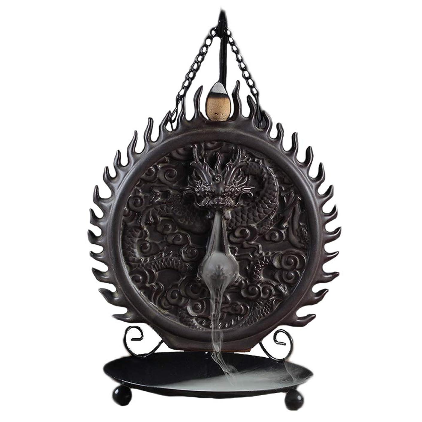 逆流香ホルダーセラミック吊りドラゴンディスク逆流香バーナーアロマテラピー炉香バーナーホルダー (Color : Black, サイズ : 16*24cm)