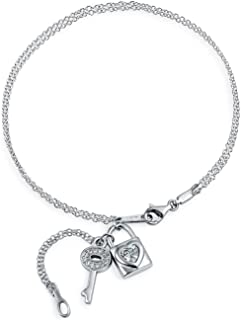 Key And Lock CZ Heart Dangle Charm Anklet Chain Ankle Bracelet For Women 925 Sterling Silver Adjustable 9 To 10 Inch
