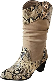 〓COOlCCI〓Womens Slouchy Boots Soft Flat to Mid Heel Under Knee High Snake Skin Western Cowboy Boot Riding Mid-Calf Boots