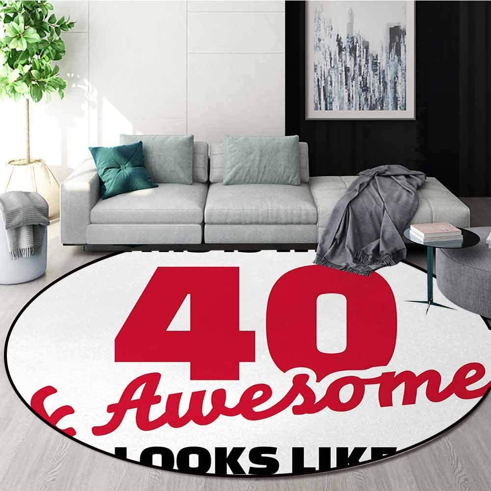 DESPKON-HOME 40Th Birthday Round Rug New products world's highest quality popular Hilarious Forty Awesome and Time sale