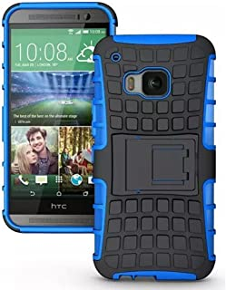 TCD for HTC ONE M9 Hybrid [Blue] Grenade Armor Case Dual Layer [Hard TPU & Soft Silicone Mix] Shock Proof Good Grip Protective Case Multi Purpose Protection and Kickstand