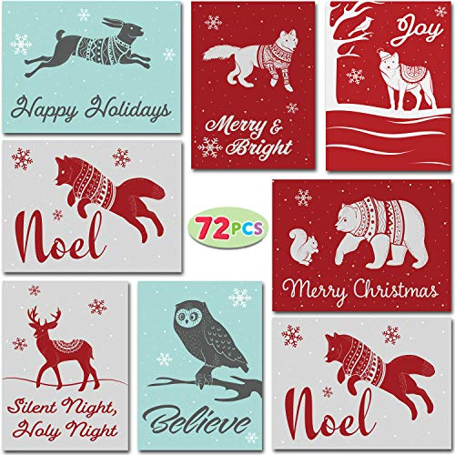 72 Christmas Holiday Greeting Cards with Envelopes for Winter Xmas Season Merry Christmas Cards, Winter Animal Collection, Wintertime Gifts Cards