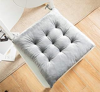 Martin Kench Juego de 2 cojines de terciopelo para silla, cojines de asiento para jardín, balcón o terraza (gris, 35 x 35 cm)