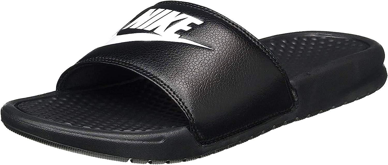 Nike Men's Benassi Solarsoft Slide Max 85% OFF Black White Latest item Athletic Sandal