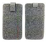 handy-point 5,0'' Filztasche Tasche Hülle aus Filz für Samsung, iPhone, Sony, Lenovo Moto, Huawei, Alcatel, Gigaset, Medion, Neffos, Geräte mit Max.14,2x7,3xx1cm (Grau mit Naht)