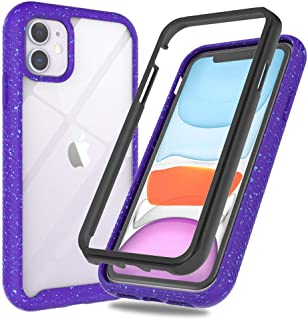 Case for iPhone 11, Clear 2019 Bumper Cover Cute Design, Protective Drop Shockproof Full Body Hard Defender, iPhone 11 Case 6.1 Slim for Women Girls (iPhone 11 Case Purple)