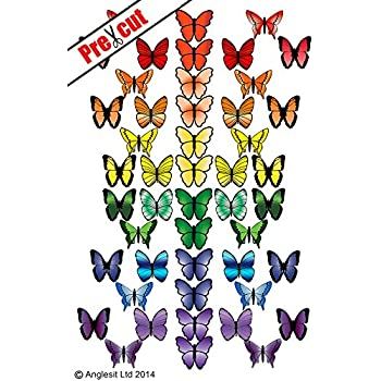 23 Pretty Rainbow BLUE Mixed Size BUTTERFLIES Edible Cake Toppers Rice Paper