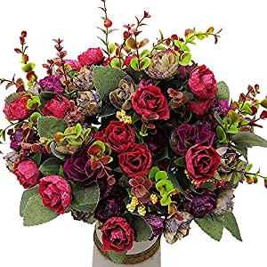 Grunyia Artificial Fake Flowers Silk Tiny Rose Flowers Wedding Bridal Bouquet Home Decoration,Pack of 4(Wine Red)