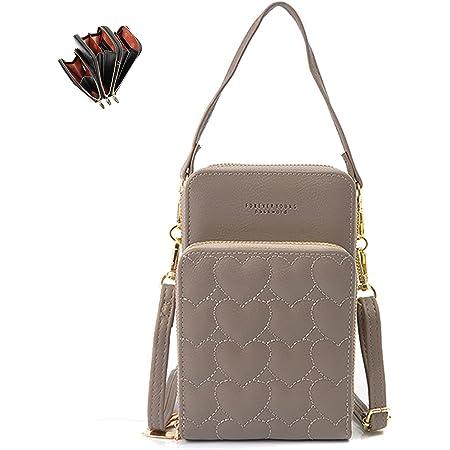 Fashion Damen Handtaschen - unisoul Handy Umhängetasche Leder Handytasche 3 Reißverschluss Beutel mit Vielen Fächern Kartenfach Geldbörsen Brieftasche für Handy unter 6.5 Zoll (Dunkelgrau)
