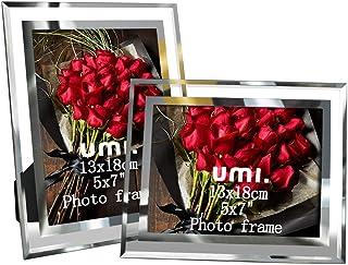 Amazon Brand – Umi 2er Glas Bilderrahmen 13×18 für Baby Fotos Familienfotos und Hochzeit