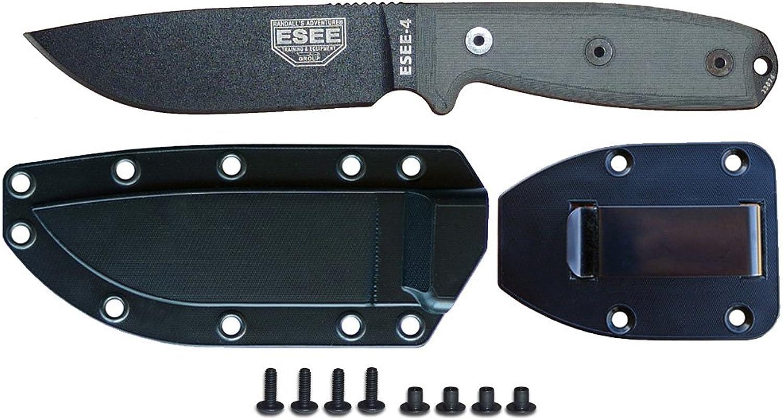 ESEE Knives Model 4 Plain Edge Fixed Blade Knife (Black) with Black Molded Sheath & Belt Clip Plate