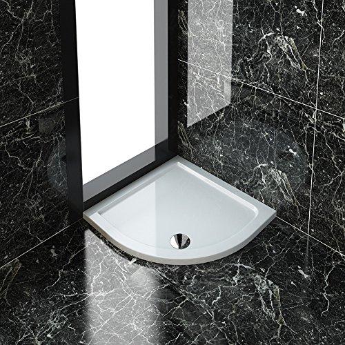 ELEGANT 800 x 800 x 40 mm Quadrant Stone Tray for Bathroom Shower Enclosure Corner Glass Door and Waste Trap