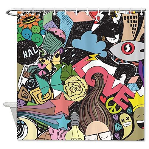 Free Brand Duschvorhang mit grafischem Design, Graffiti-Stil, Liebe, geruchlos, dekorativ, Badezimmereinlage, Stoff, für Badezimmer, Duschkabine, Badewannen, wasserdicht, 183 x 183 cm