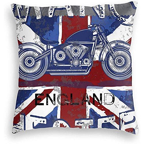 WHEYT Motor Club Manchester with England Flag Federa Decorativa Home Decor Federa Regali Colorati 50 X 50 cm