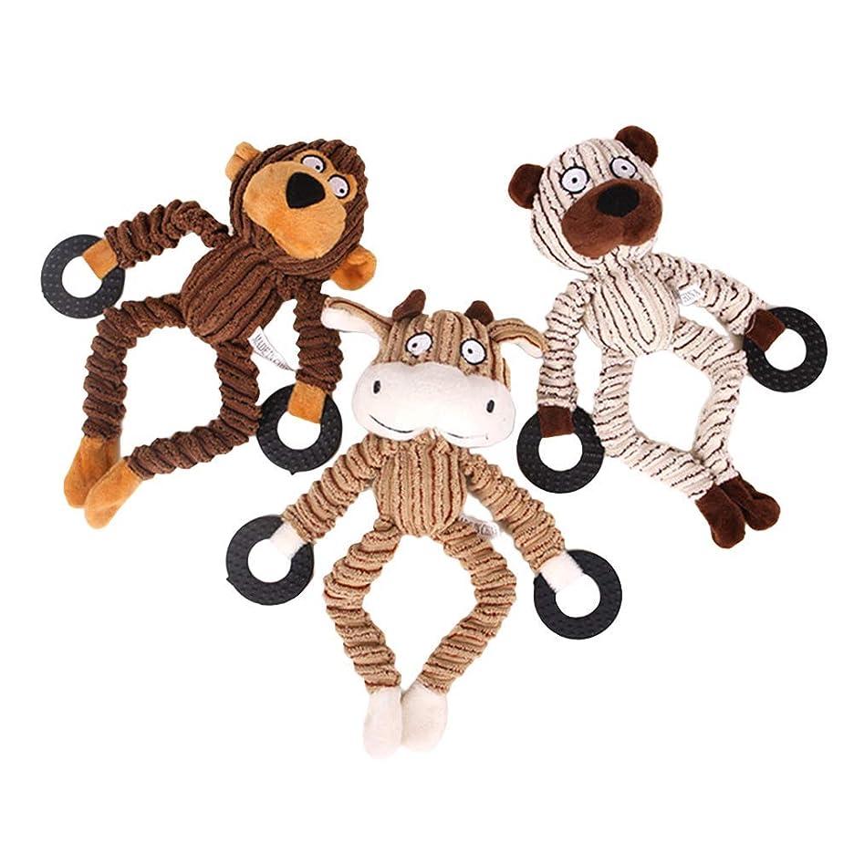 購入ご意見遠征3ピースペット犬噛むおもちゃ牛クマモンキーおもちゃ噛むサウンド咬傷おもちゃ小型犬猫