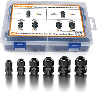 Cable Glands Waterproof Adjustable Plastic Cable Connectors Fasteners Cable Gland Joints, PG7, PG9, PG11, PG13.5, PG16, PG19, 40 Pieces