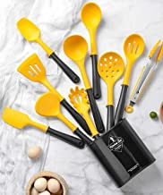 Shopnic 10pcs Silicone Cooking Utensils Set with Holder – Premium Quality Kitchen Cookware with PP Handle Cooking Tool Set...