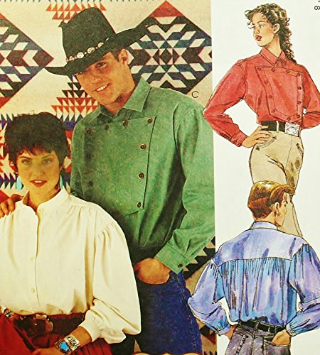 McCall's 7123 Sewing Pattern Mens Unisex Misses Western Shirts Bust 42 - 44 - 46 - 48