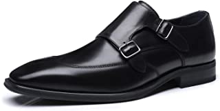 La Milano Mens Double Monk Strap Slip On Loafer Cap Toe Leather Oxford Formal.