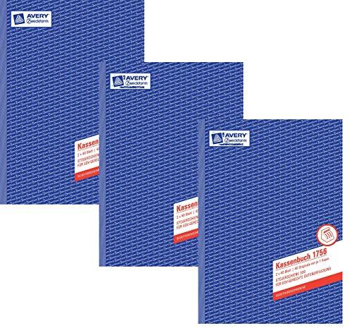 Avery Zweckform© 1756 Kassenbuch, DIN A4, nach Steuerschiene 300, 2 x 40 Blatt, weiss, gelb 3er Pack