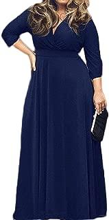 POSESHE Women's L-4XL Solid V-Neck Long Sleeve Plus Size Maxi Dress