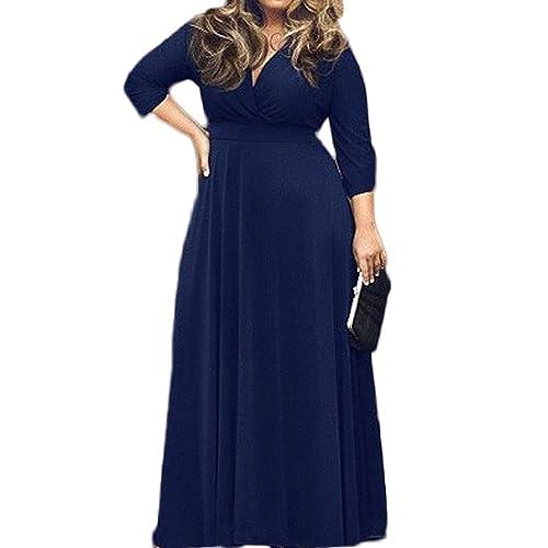 8e71b2711ebe0 POSESHE Women s Solid V-Neck 3 4 Sleeve Plus Size Evening Party Maxi Dress