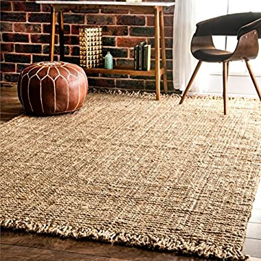 nuLOOM NCCL01 Natura Collection Chunky Loop Jute Casuals Natural Fibers Hand Woven Area Rug, 7' 6  x 9' 6  , Beige