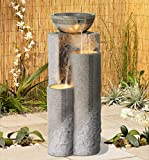 "John Timberland Outdoor Floor Water Fountain 34 1/2"" High Cascading Marble Bowls LED for Yard Garden"