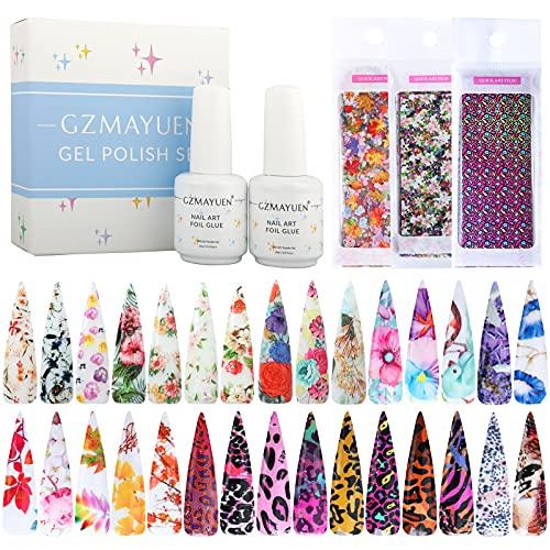 Nail Foil Art Kit 2pcs Transfer Pegamento Foil Gel Glue y Nail Art Foil Sticker Papel Flores Leopardo Hoja Arce Modelado Kit Transfer Foil