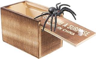 STOBOK Wooden Surprise Box Prank Spiders Scare Box Horrific Practical Joke Toys Props For Mischief April Fools Day Carniva...