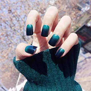 Poliphili 24Pcs Glossy Black Red and Green Gradient False Nails Press On Short Square Full Coverage Removable Wear Manicur...