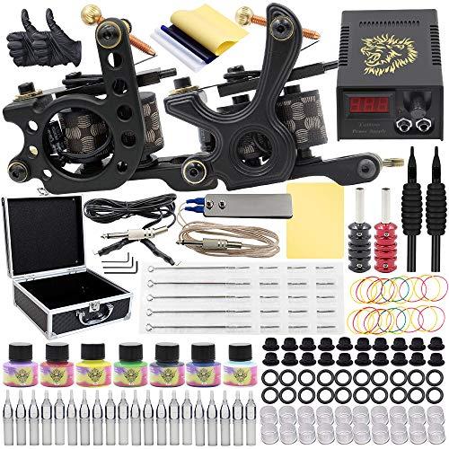 Autdor Tattoo Kit - 143Pcs Complete Tattoo Machine Kit Including Tattoo Machine Gun 7 Color Tattoo Ink Tattoo Needles Tattoo Tips Grips Power Supply Tattoo Acessories for Beginners Tattoo Supplies