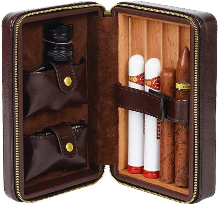 JF-XUAN Humidors Kansas City Mall Travel Portable Leather Cedar Wood H Can Lining NEW before selling ☆
