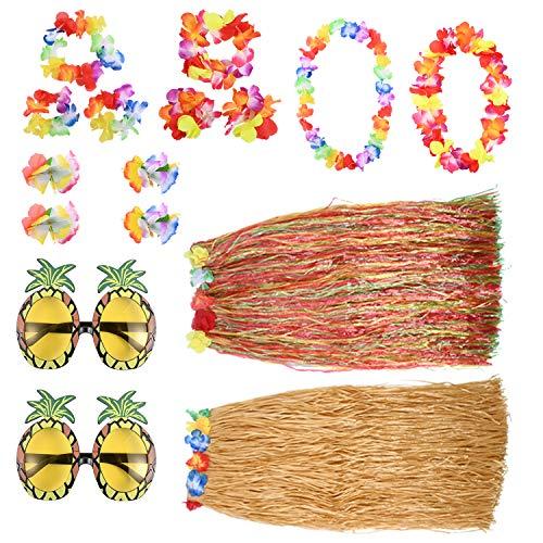 Berolle Juego de 16 piezas de disfraz hawaiano con falda hawaiana de hierba de hula de piña gafas de sol de flores clip para el pelo de las guirnaldas hawaianas para la decoración de fiesta