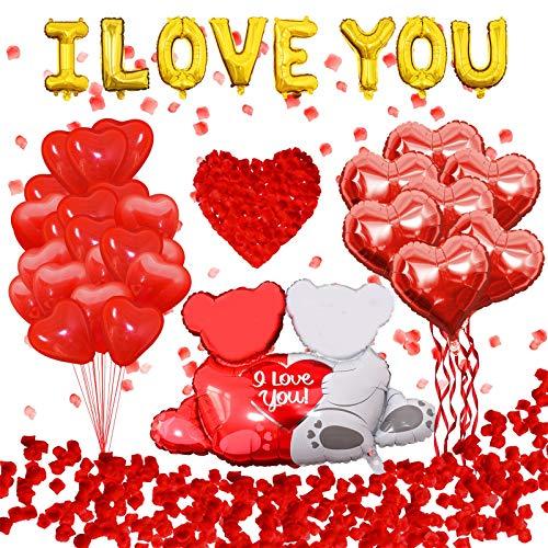 42 Pièces Kit de décorations de la Saint-Valentin 1000 pièces pétales de Rose Rouge, Ballons en Forme de Coeur Ballons I Love You Ours, Decoration Saint Valentin pour Briday Anniversaire Engagement