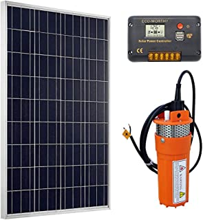 ECO-WORTHY Solar Deep Well Water Pump - 100W Poly Solar Panel with 12V Deep Well Water Pump & 20A Charge Controller for Home Irrigation Ranch Farm