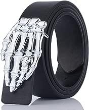 zonfer Cinturón de cuero de las mujeres de los hombres Cráneo Mano fantasma Patrón de Dios Cinturones con hebilla de metal Estilo punk Jeans Pantalones Cinturón para Unisex (negro)