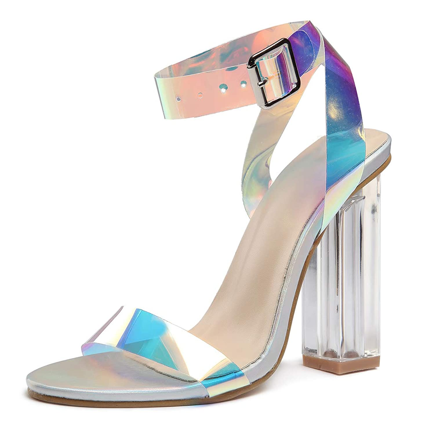 Women's High Heel Platform Dress Pump Sandals Ankle Strap Block Clear Chunky Heels Party Shoes