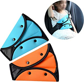 VTurboWay Seat Belt Adjuster for Kids, 2 Pack Seat Belt Positioner Child Seatbelt Adjuster Seat Belts Protection and Safety for Kids (Orange & Blue)