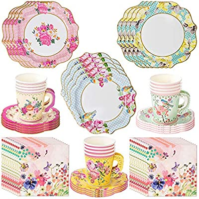 Talking Tables Vintage Tea Party Supplies   Floral Paper Party Plates, Napkins, Tea Cups and Saucer Sets   Great for Tea Parties, Weddings, Bridal Showers, Baby Showers and Birthday Parties