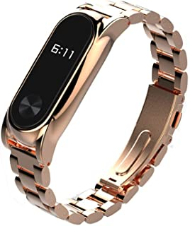 WARMWORD Correa de Repuesto de Acero Inoxidable para Reloj Inteligente Xiaomi Mi Band 2, con Marco de Metal Correa de muñeca Acero Inoxidable Pulsera de Metal